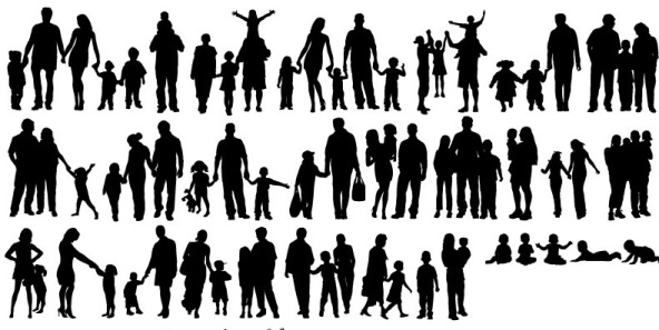 A-Variety-Of-Happy-Family-Silhouette-Vector-Illustration-1